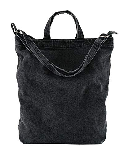 BAGGU Duck Bag Canvas Tote, Essential Everyday Tote, Spacious and Roomy, Washed Black