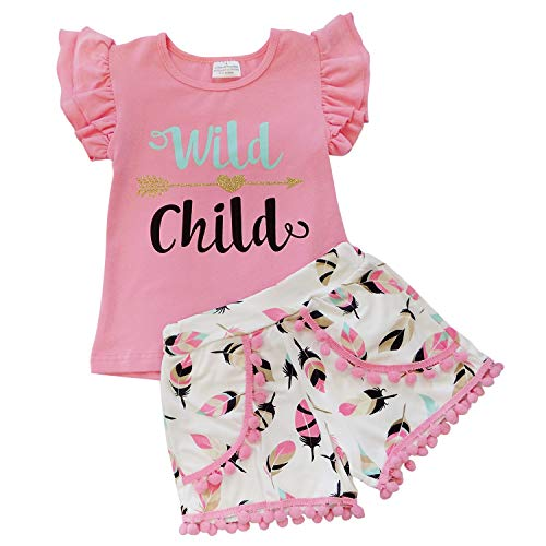 So Sydney Girls Toddler Pom Pom Novelty Summer Pool Beach Vacation Shorts Outfit (4T (M), Wild Child Pink)]()