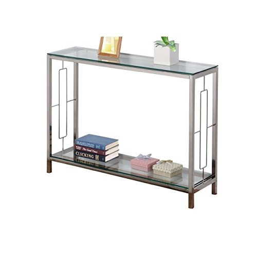 Contemporary Style Tempered Glass Console Table Square Shaped with 2 Tier Glass Shelves | Metal Legs, Chrome Finish Home Decor - Includes Modhaus Living Pen
