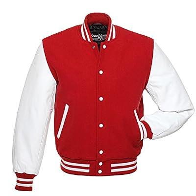 C103 Red Wool White Leather Varsity Jacket Letterman Jacket