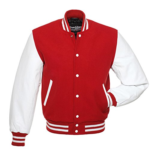 Varsity Letterman Jacket - Red Wool & White Leather - Small