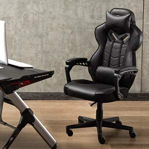 Bonzy Home Gaming Chair Office Chair High Back Computer Chair PU Leather Desk Chair PC Racing Executive Ergonomic Adjustable Swivel Task Chair with Headrest and Lumbar Support (Black) 41ERZMZXYKL