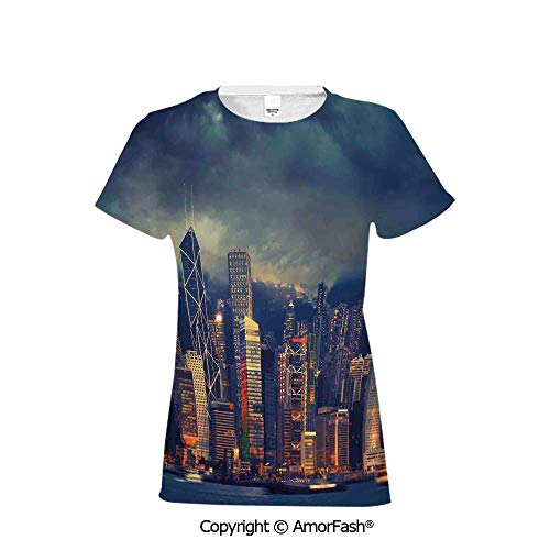 Over Print T-Shirt,Women's T Shirt,Size S-2XL Big,Cityscape,Hong Kong Cityscape