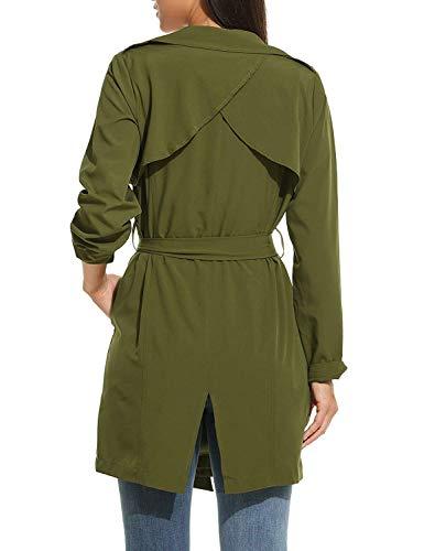 Chaqueta Vintage Colores Adelina Parka Outerwear Mujer Moda Ropa Armygreen Primavera Elegantes Otoño Cinturón Casual Festivo Sólidos Windbreaker Con Placket wP8xOPrqY