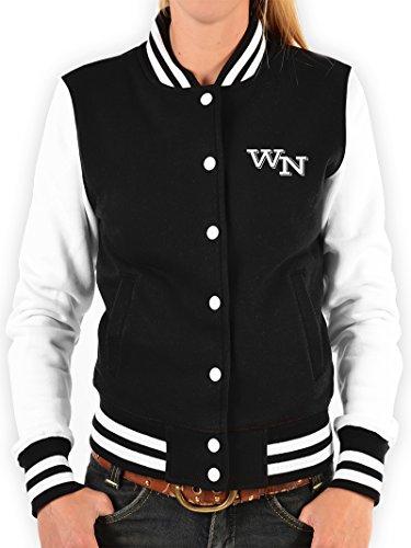 Jacke College Jacke für Damen / Mädchen mit persönlichen Initialen - Sweatjacke Freizeitjacke im Retro Look