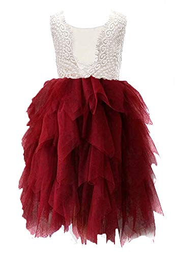 Topmaker Backless A-line Lace Back Flower Girl Dress (5Y, Non-Beaded-Wine Red) ()