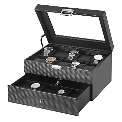 BEWISHOME Watch Box Organizer 20 Slots Watch Case Men Display Storage Case Metal Hinge Carbon Fiber Design Glass Top Large Holder Black SSH04C