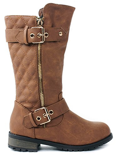 Kids Girls Mango21 Tan Dual Buckle/Zipper Quilted Mid Calf Motorcycle Boots-2
