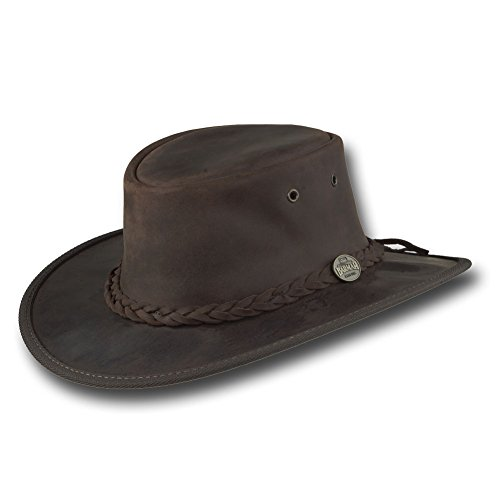 Barmah Hats Foldaway Bronco Leather Hat 1060BL / 1060BR / 1060RU (Large, Brown)
