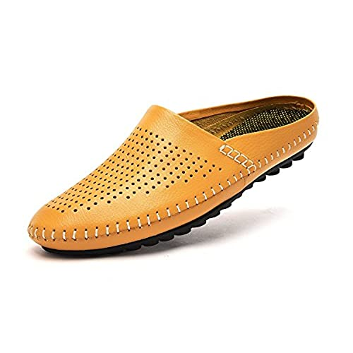b5e9d50e4b9c VanPro Men Open Back Slippers Summer Casual Shoes Peas Shoes Leather Head  Soft Leather Cool Slippers