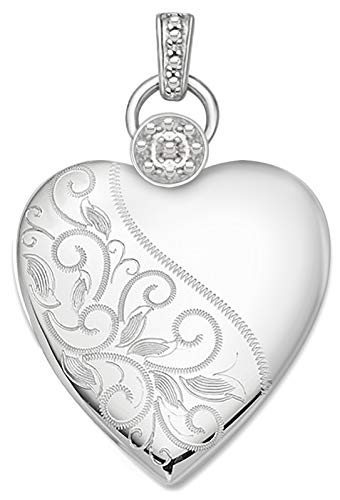US Jewels And Gems Ladies 1 1/8in 0.925 Sterling Silver 2 Photo Engraved Floral Heart Locket Pendant