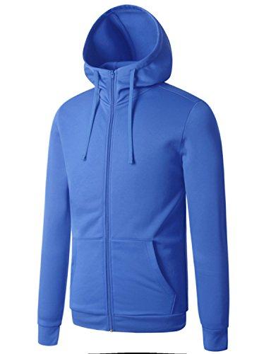 REGNA X Mens Front Zip Hooded Lined Lining Light Grey Medium Fleece High Neck Jacket (Microfiber Jacket Color)