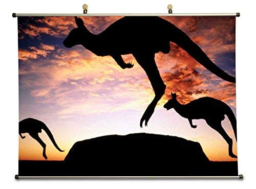 Tollyee Kangaroo39;s at Sunset Uluru National Park NT Australia - Canvas Wall Scroll Poster with Metal stretchers (32x24 inches)