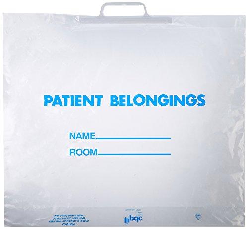 "PDC Healthcare PBR01 Plastic Patient Belongings Bag, Rigid Handle, 20"" Length, 18.5"" Width, 3.5"" Gusset, Clear (Case of 250)"