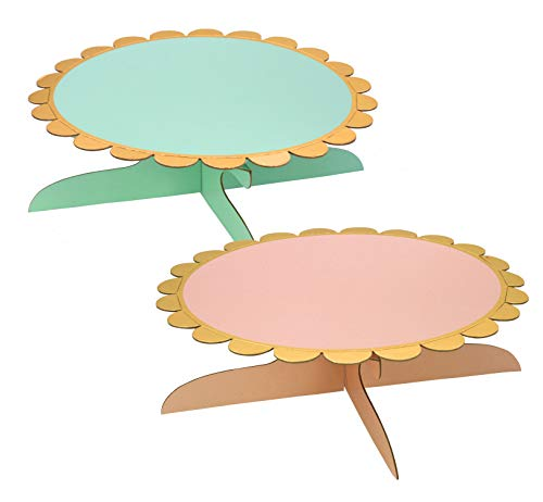 one Tier Cupcake Stands, for Birthday party 2-Set (pink&green) -