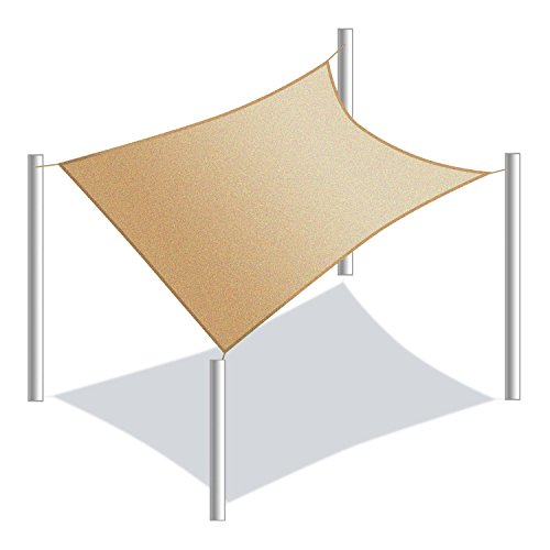 ALEKO SSNREC20X16BE Sun Shade Sail Rectangle Water Resistant Canopy Tent Replacement for Yard Patio Pool 20 x 16 Feet Beige (Structures Outdoor Diy Shade)