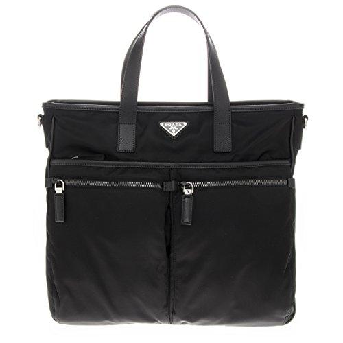 Prada Pocket Tote (Prada Women's Nylon and Leather Trim Tote Black)