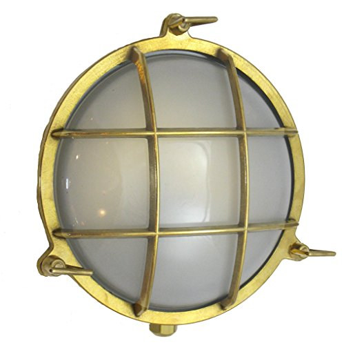 Round Cage Light (Solid Brass, Interior / Exterior by Shiplights) (Unlacquered Brass)