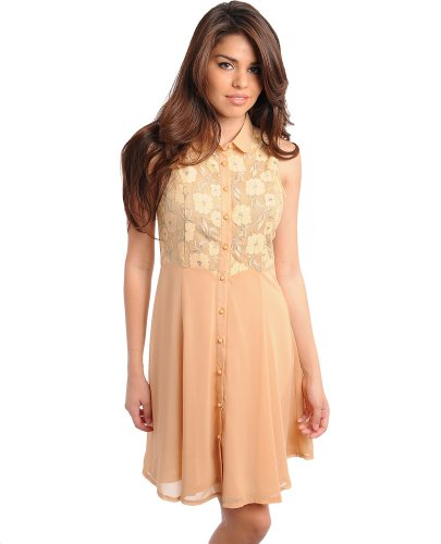 Stanzino Women's Sleeveless Collared Floral Detailed Button Dress TAUPE M