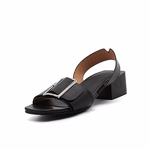 Sommer größe Schuhe, Metall quadratische Schnalle, eine Größe Sandale, Schuhe der Europäischen und Amerikanischen Frauen und Sandalen, Braun, 34