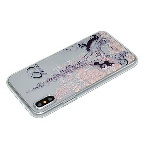 Coque iPhone X Tour de musique Premium Gel TPU Souple Silicone Transparent Clair Bumper Protection Housse Arrière Étui Pour Apple iPhone X / iPhone 10 (2017) 5.8 Pouce + Deux cadeau