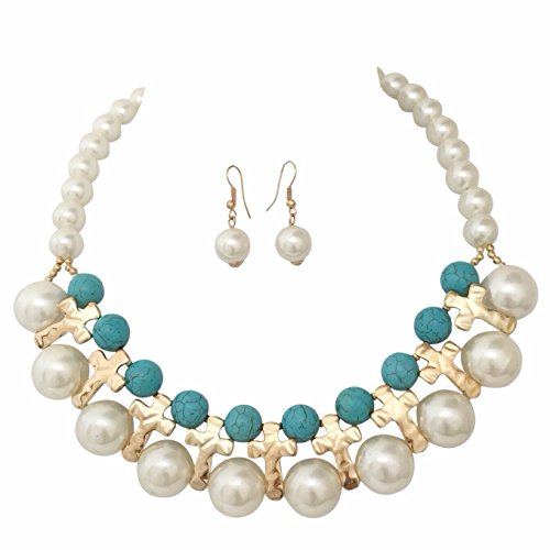 Pearl Turquoise Cross - Simulated Pearl & Synthetic Turquoise Gold Tone Crosses Statement Bib Necklace Earrings Set