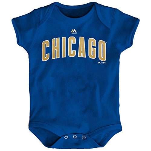 Majestic Chicago Cubs World Series Championship Gold Infant One Piece Size 18 Months Bodysuit Creeper Blue