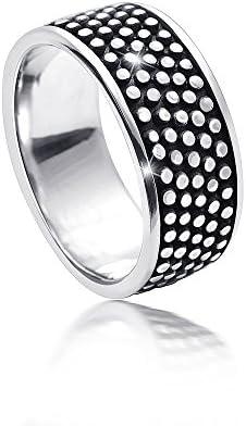 MATERIA Damen Herren Ring antik mit Punkten 925 Silber breit massiv 6,1g deutsche Fertigung #SR-109