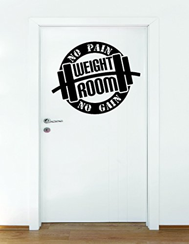 Wall Decal Sale : Weight Room No Pain No Gain Body Builder Workout Weights Circle Sign Size: 16 Inches X 16 Inches - 22 Colors Available