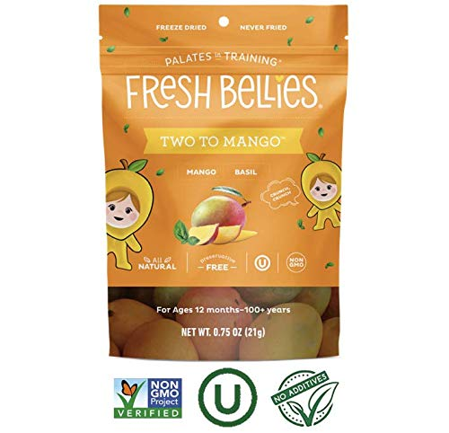 Fresh Bellies Vegan Snacks for Kids and Toddlers, No Added Sugars, Gluten Free, Paleo Friendly, Only 3 Ingredients, Non GMO, Kosher, 6 Pack – Two to Mango, 6 pack