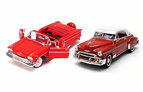 1950s Chevy Bundle: 1950 Bel Air with 1958 Impala - Two 1/24 Scale Diecast Model (1950s Chevy Cars)