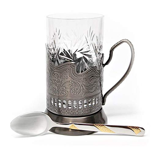 Belarus Bronze Combination of 1 Russian Old-Fashioned Cut Crystal Hot Tea Glass 8.5 Oz & Handmade Metal Glass Holder Podstakannik w/Gold-Plated Teaspoon, Vintage Hot or Cold Beverage Drinking Set