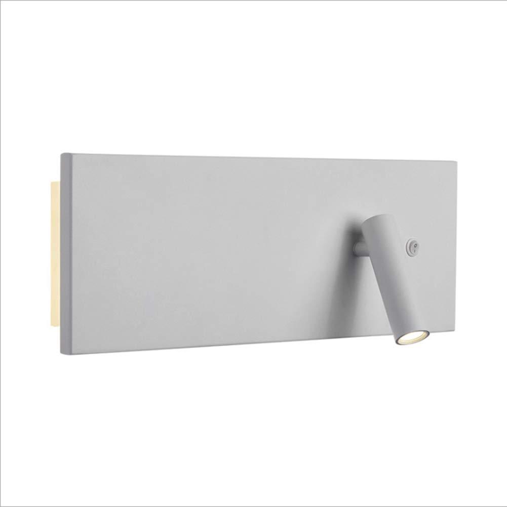 Weiß ZRR Moderne LED-Wandleuchte mit Doppelschalter, Schwarze Wandleuchte Aluminium-Acryl-Wandleuchte, 360 ° Verstellbarer Scheinwerferkopf, Korridor-Ganglicht Balkon Wandleuchte, Warmweiß,Weiß