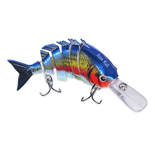 ROSE KULI Bass Fishing Lure Life Like Hard Body Swim Multi Jointed Baits Hook Size #6 Blue