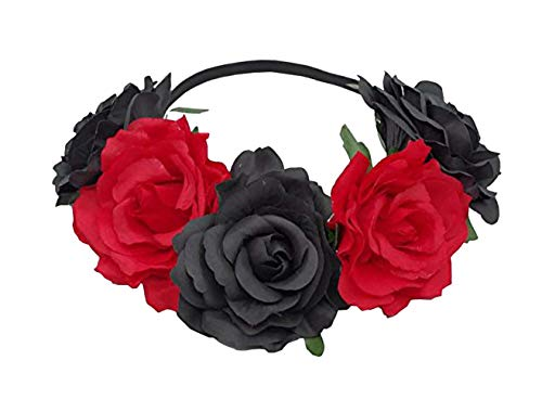Love Fairy Bohemia Stretch Rose Flower Headband Floral Crown for Garland Party (Black ()