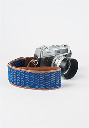 Genuine Leather Camera Neck Strap - Bright Blue - Hand Embroidered - Fits DSLR ()