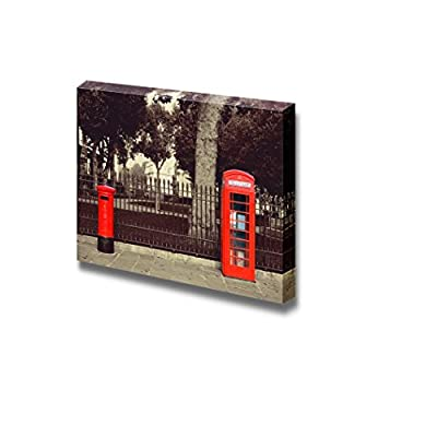 Red Telephone and Post Box in Street with Historical Architecture in London - Canvas Art Wall Art - 12
