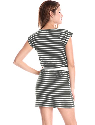 Gray White Allegra Contrast Pockets Mini Waist K Women's Neck Round Dress Stripes WOqrFT4PvW