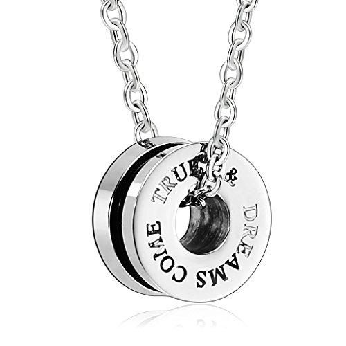 Aooaz Stainless Steel Pendant Necklace for Men AAA Cubic Zirconia Round Pendant Necklaces Black Silver ()