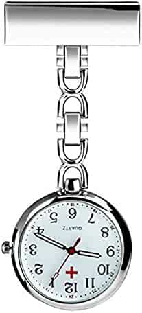 Powshop Nurse Lapel Pin Watch Hanging Medical Doctor Pocket Watch (White)