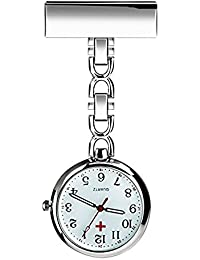Nurse Lapel Pin Watch Hanging Medical Doctor Pocket Watch (White)