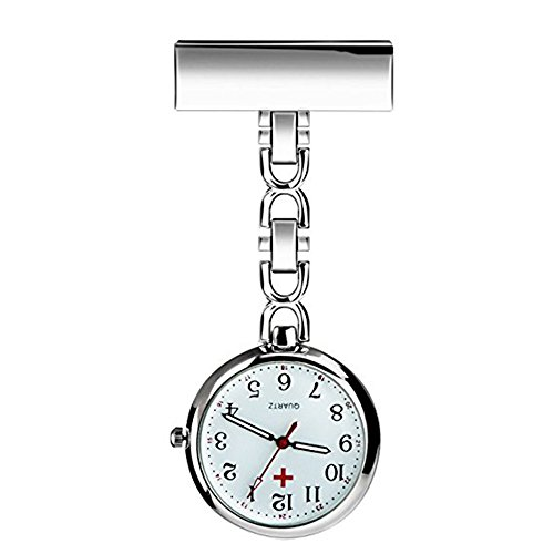 Powshop Nurse Lapel Pin Watch Hanging Medical Doctor Pocket Watch (White) - Medical Pocket Watch