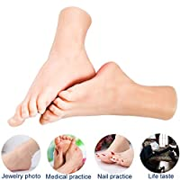 GZMUS - Home Security 1 Pair Silicone Lifesize Mannequin Foot with Nail and Bone Display Sandal Shoe Sock Display Art Sketch 21cm Nail Shop Practice Feet