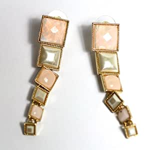 Square Taper Enamel Pink Fashion Gold Tone Earrings