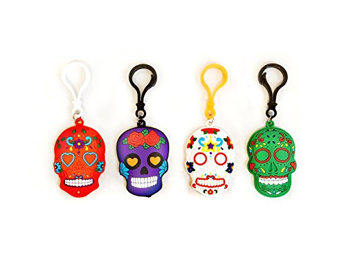 12 Pack Sugar Skull Backpack Clip Bag Clip Keychain - Party Favors, Sugar Skull Party Supplies, Prizes, Treasure -