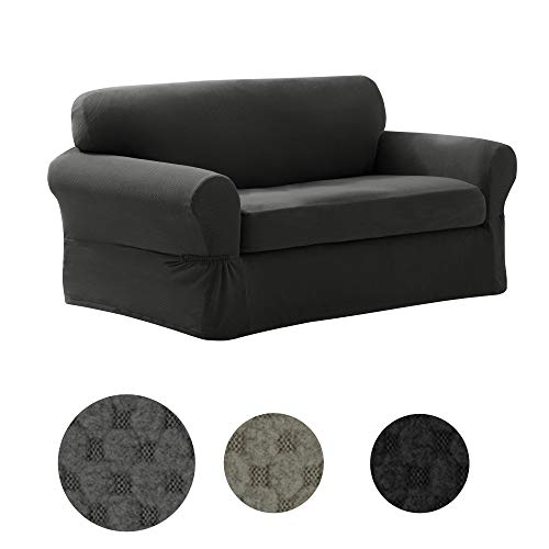 MAYTEX Pixel Ultra Soft Stretch 2 Piece Loveseat Furniture Cover Slipcover, Charcoal Grey
