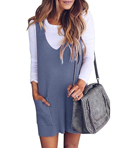 (Bigyonger Womens Overall Mini Dress Deep V Neck Ribbed Knit Tank Sweater Dresses with Pocket Gray)
