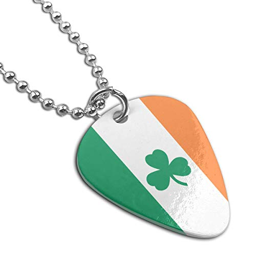 (WAY.MAY Irish Flag Shamrock Guitar Pick Necklace Pendant Dog Tag Pet Card Keychain)