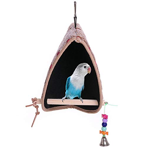 QBLEEV Bird Winter Plush Hut Tent Nest Stand Parrot Bed Sleep Parakeet Cage Cave Cockatiel Birdcage Hanging Decor Perch…