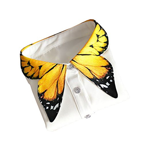 Shinywear Unique Yellow Butterfly Shape Decorative Collar Shirt Blouse for Women, One Size from Shinywear